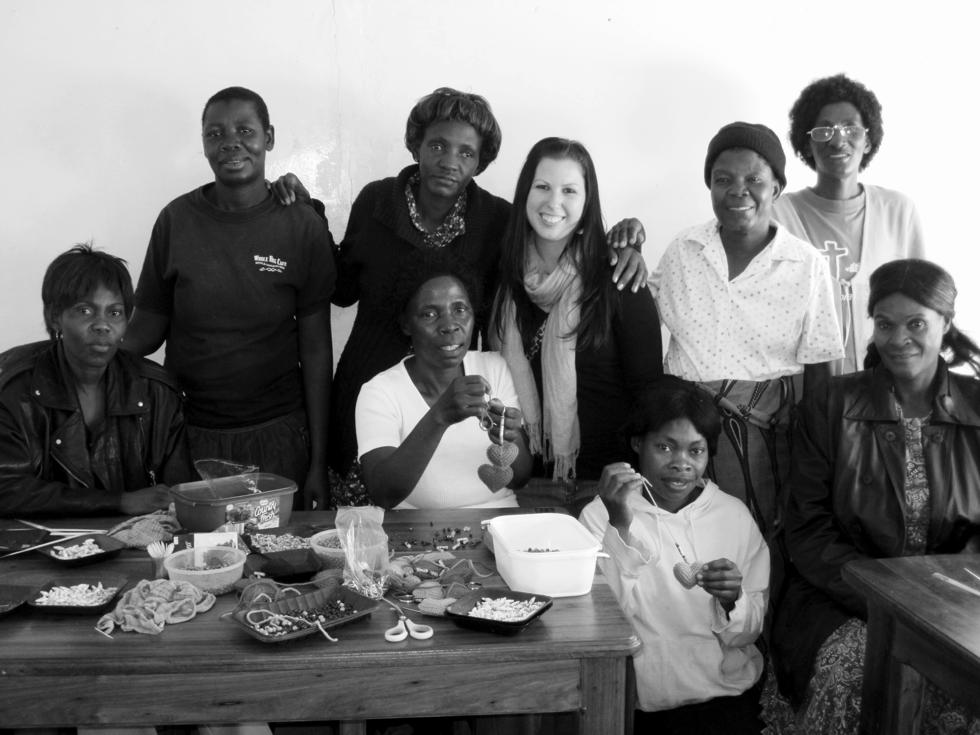Founder Lauren Bersaglio with the women of Hope Art in Zambia