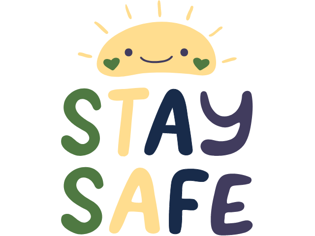 """sun with """"stay safe"""" text"""