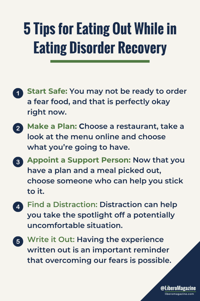 list of 5 tips for eating at restaurants in eating disorder recovery