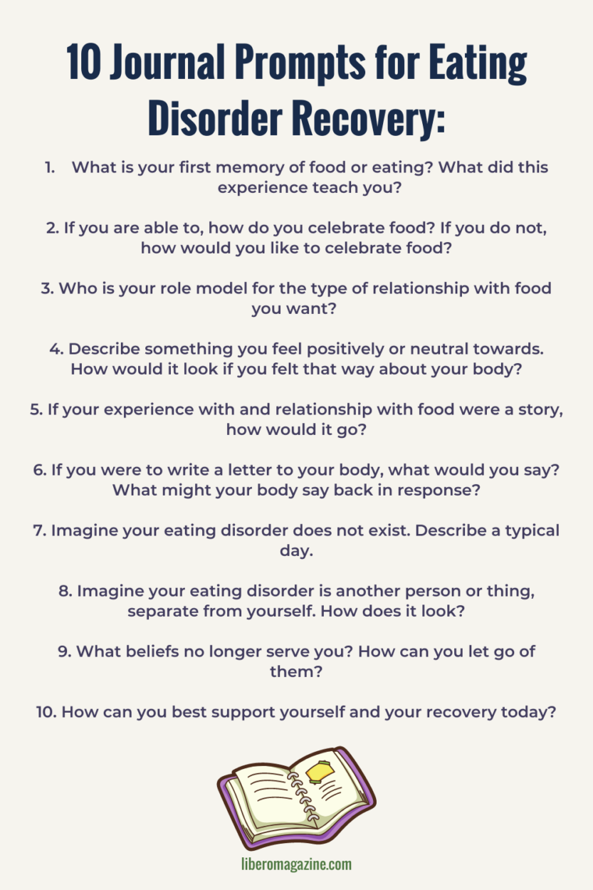 list of ten journal prompts for starting an eating disorder recovery journal