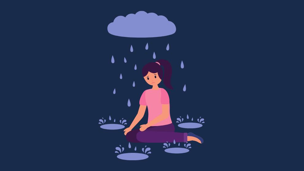 seasonal affective disorder image girl in rain